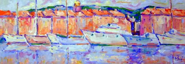Le port de saint tropez ( 120 x 40 )